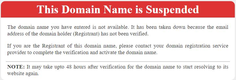 dominio suspendido