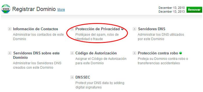 Proteccion de Privacidad