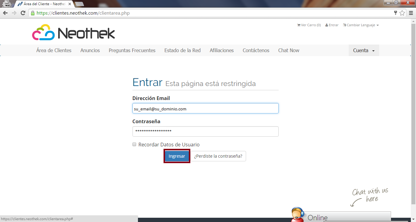 Introducir Correo y password
