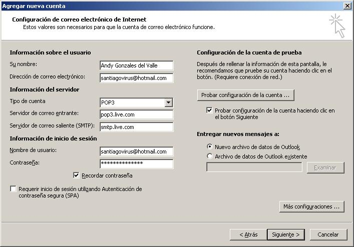 Configurar correo Hotmail en Outlook 2010