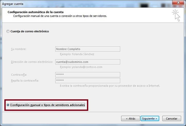 Configuracion manual o tipos de servidores adicionales