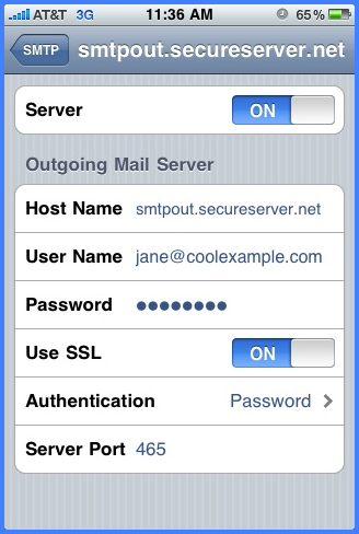 Paso 2 ssl smtp iPhone